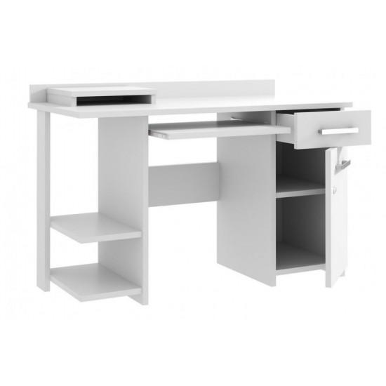 Birou 124 cm, masa de calculator cu 1 sertar si 1 dulap, office - Alb, Sonoma, Cires, Maro