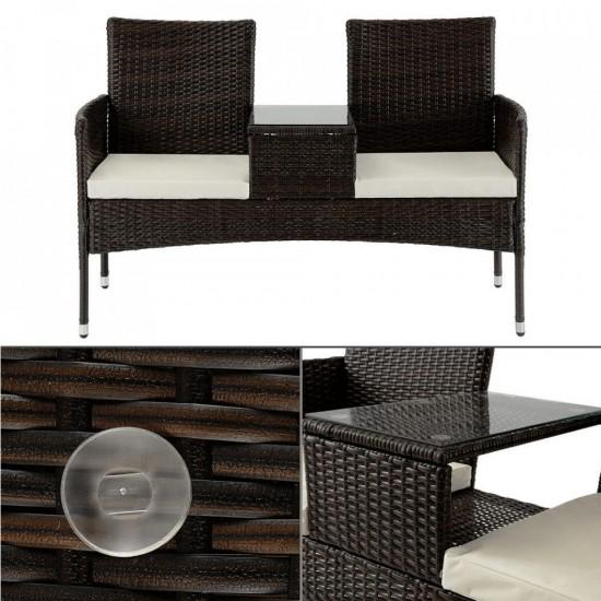 Canapea cu 2-locuri şi măsuţă, maro/crem, LALIT