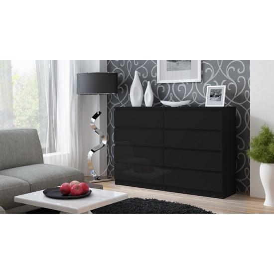 Comoda 138 cm, cu 8 sertare pentru dormitor, living, dining, birou - Alb-Lucios, Negru-Lucios
